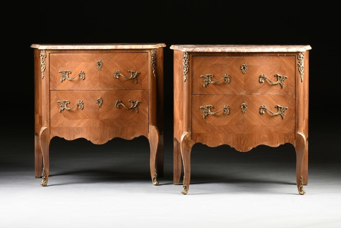 A PAIR OF FRENCH LOUIS XV STYLE ORMOLU MOUNTED ROSEWOOD
