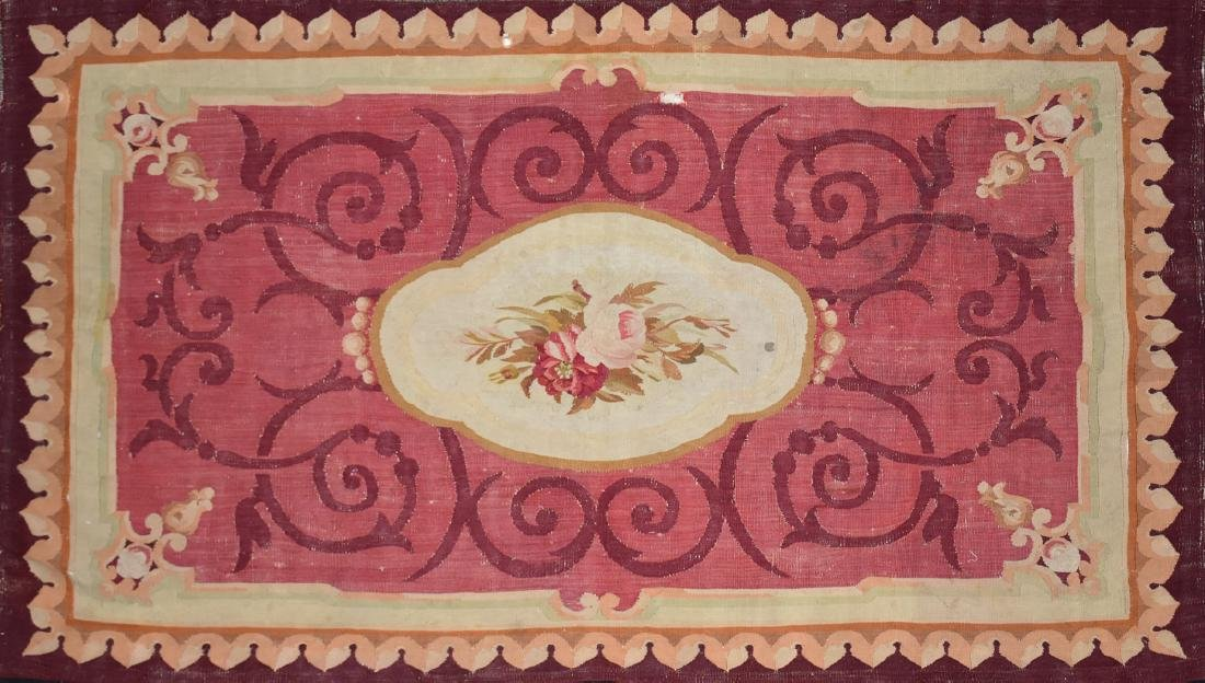 AN ANTIQUE AUBUSSON SLIT WOVEN TAPESTRY PANEL, POSSIBLY