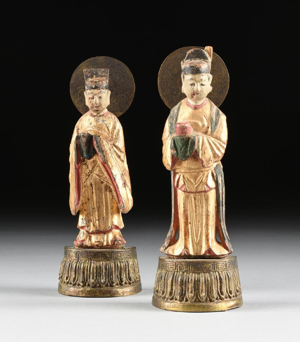 A PAIR OF CHINESE MING DYNASTY STYLE PARCEL GILT