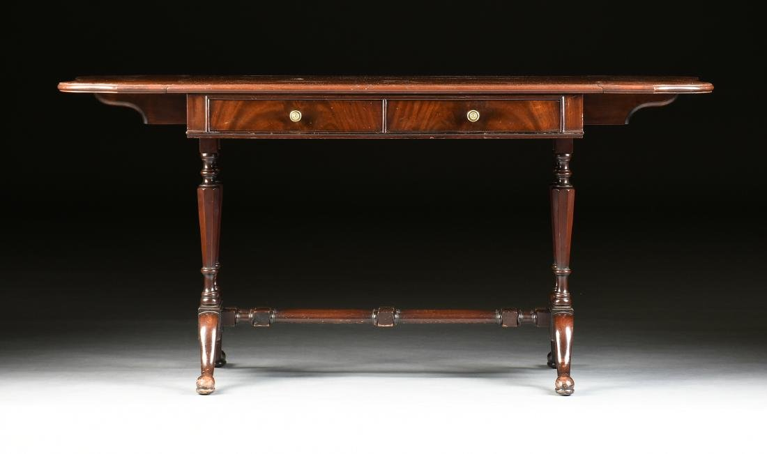 A GEORGIAN STYLE MAHOGANY DROP LEAF LIBRARY TABLE,