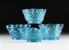 A GROUP OF FOUR LATE VICTORIAN BLUE HOBNAIL GLASS