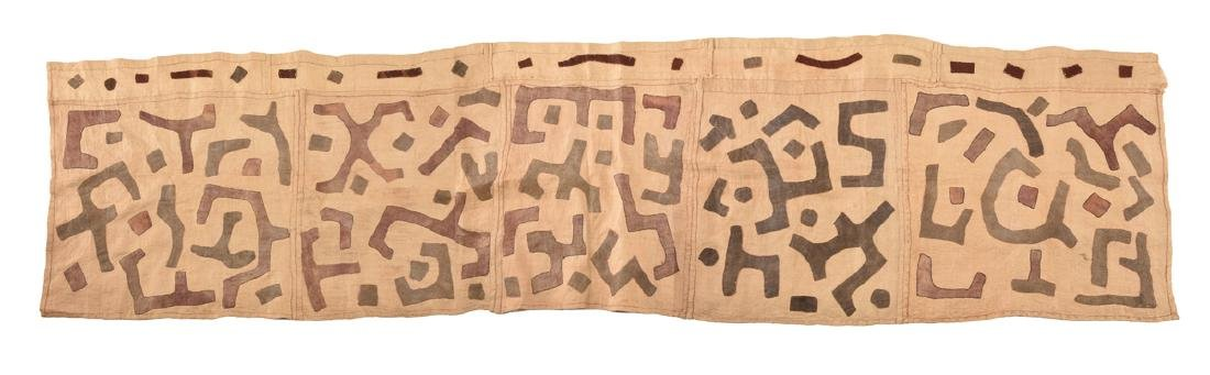 AN AFRICAN HAND STITCHED NATURAL DYED KUBA CLOTH