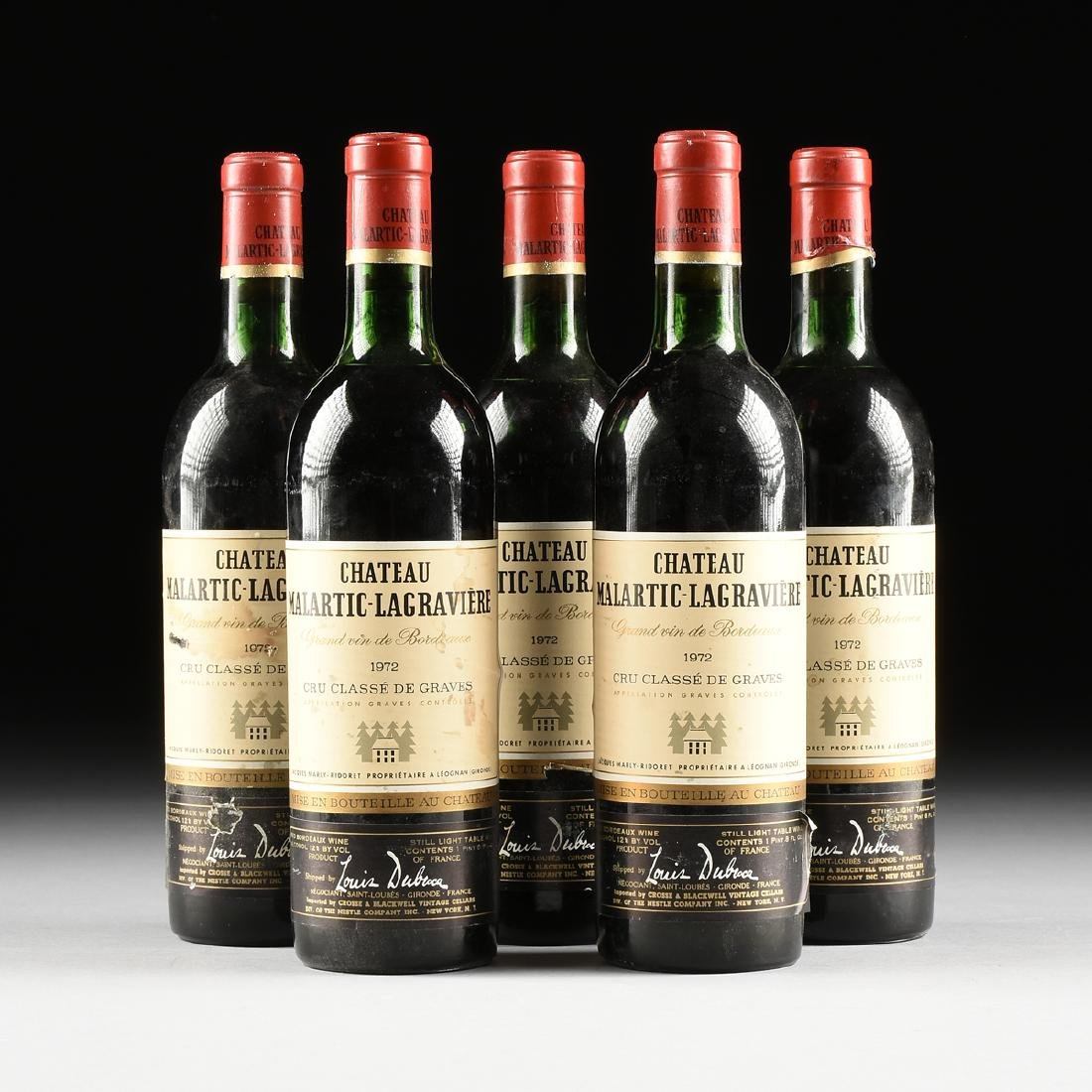 A GROUP OF FIVE BOTTLES OF 1972 CHÂTEAU