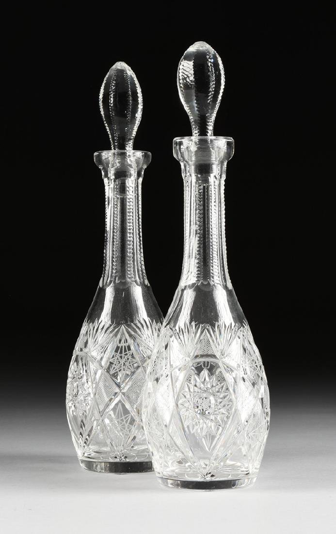 A GROUP OF FOUR CRYSTAL DECANTERS WITH STOPPERS, - 2