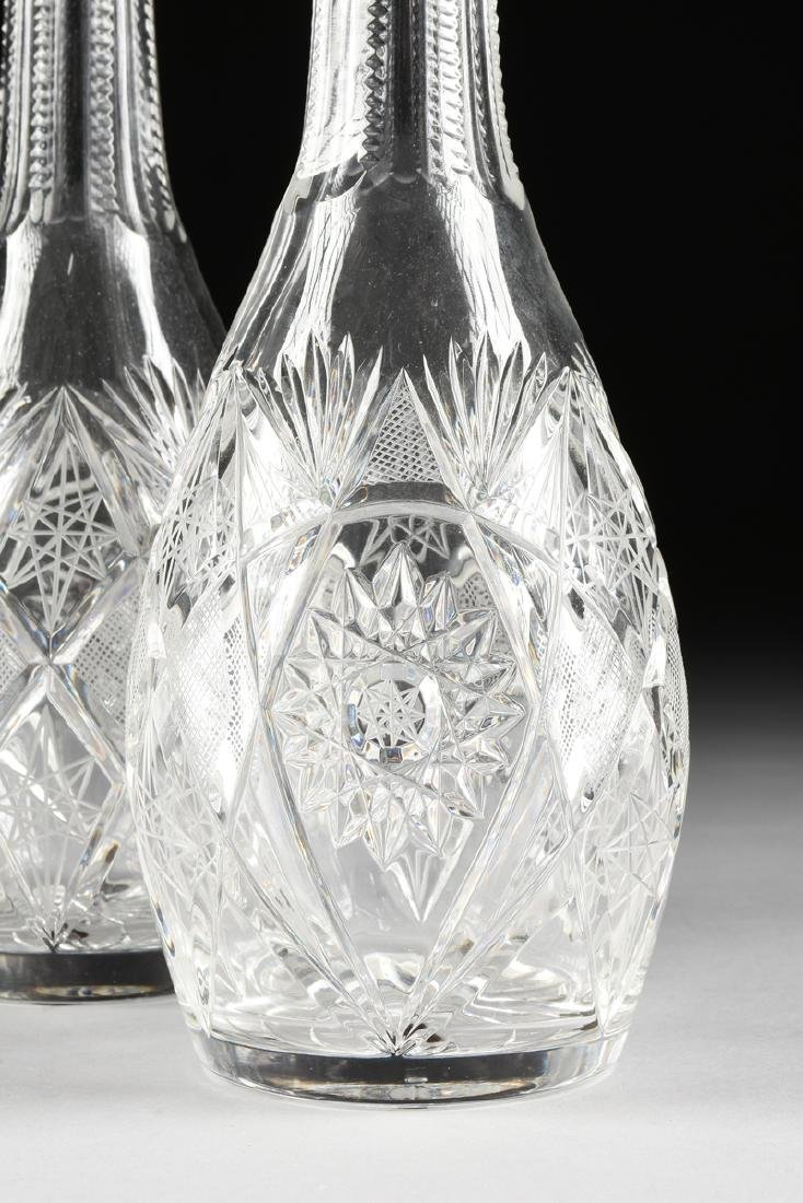 A GROUP OF FOUR CRYSTAL DECANTERS WITH STOPPERS, - 3