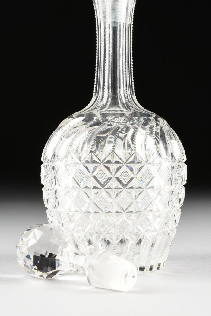 A GROUP OF FOUR CRYSTAL DECANTERS WITH STOPPERS, - 8