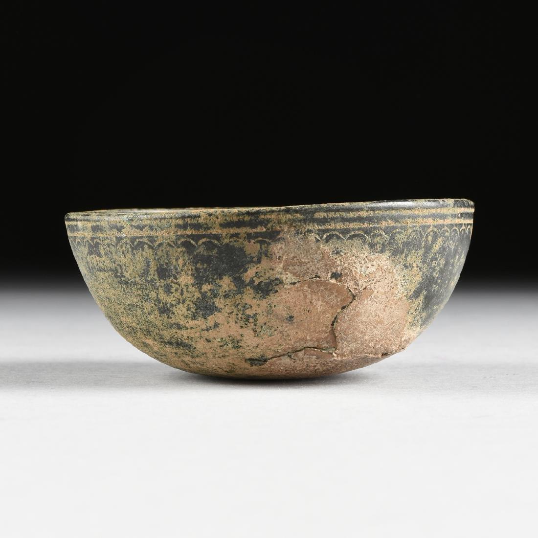 AN ANCIENT ROMAN BRONZE BOWL, FIRST CENTURY A.D.,