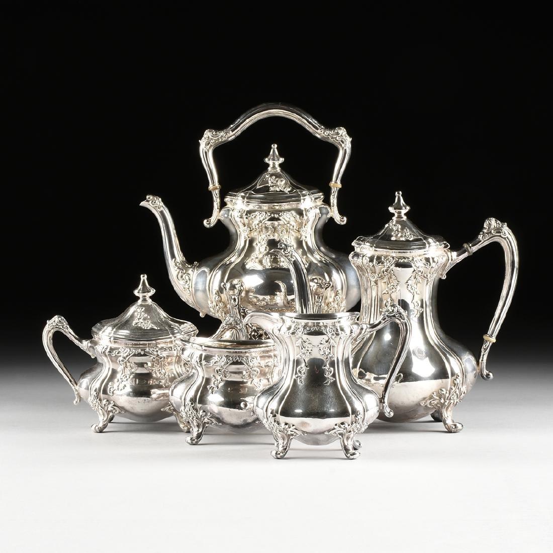 A FIVE PIECE REED & BARTON SILVER PLATED TEA SERVICE,