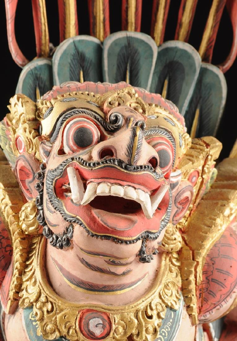 A BALI GILT AND POLYCHROME PAINTED WOOD FIGURE OF THE - 3