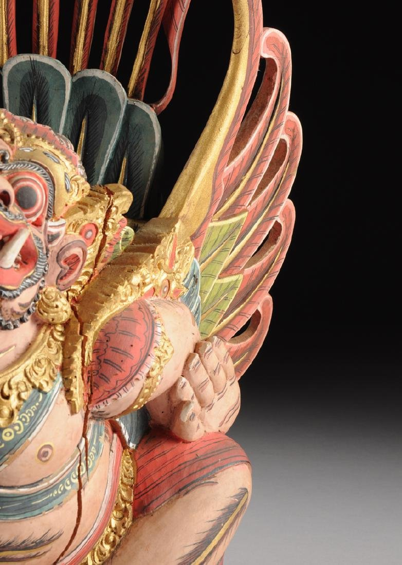 A BALI GILT AND POLYCHROME PAINTED WOOD FIGURE OF THE - 5
