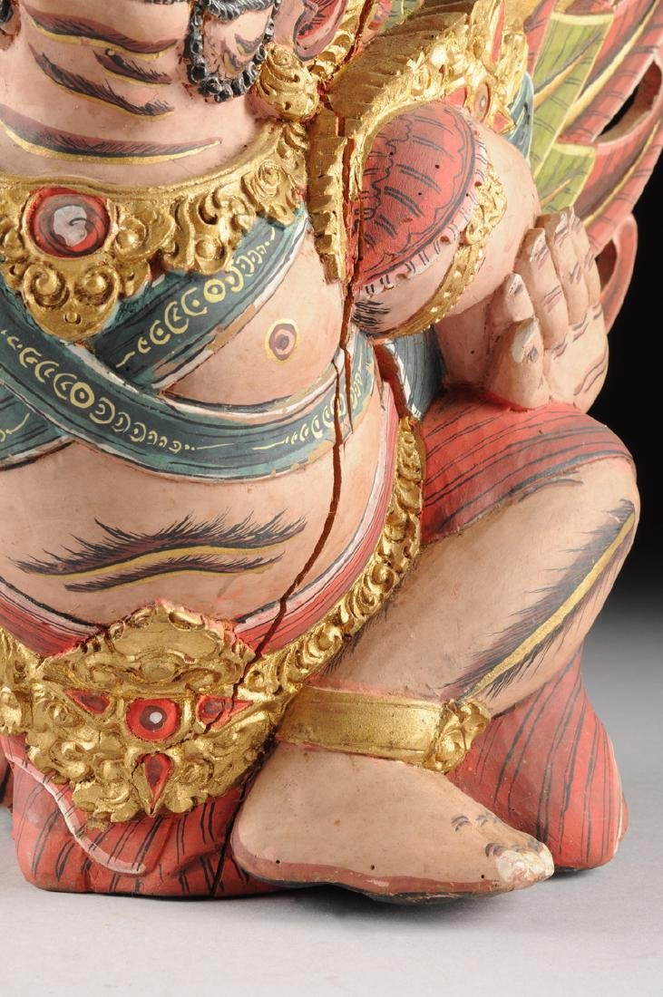 A BALI GILT AND POLYCHROME PAINTED WOOD FIGURE OF THE - 6