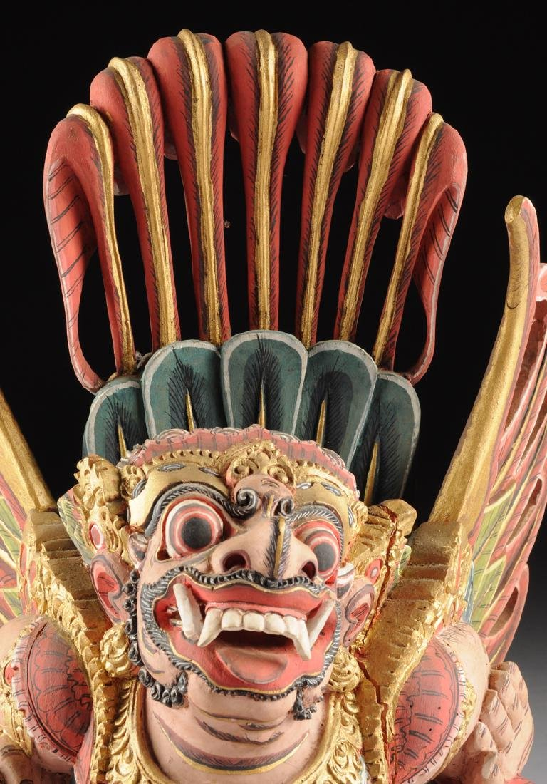 A BALI GILT AND POLYCHROME PAINTED WOOD FIGURE OF THE - 7