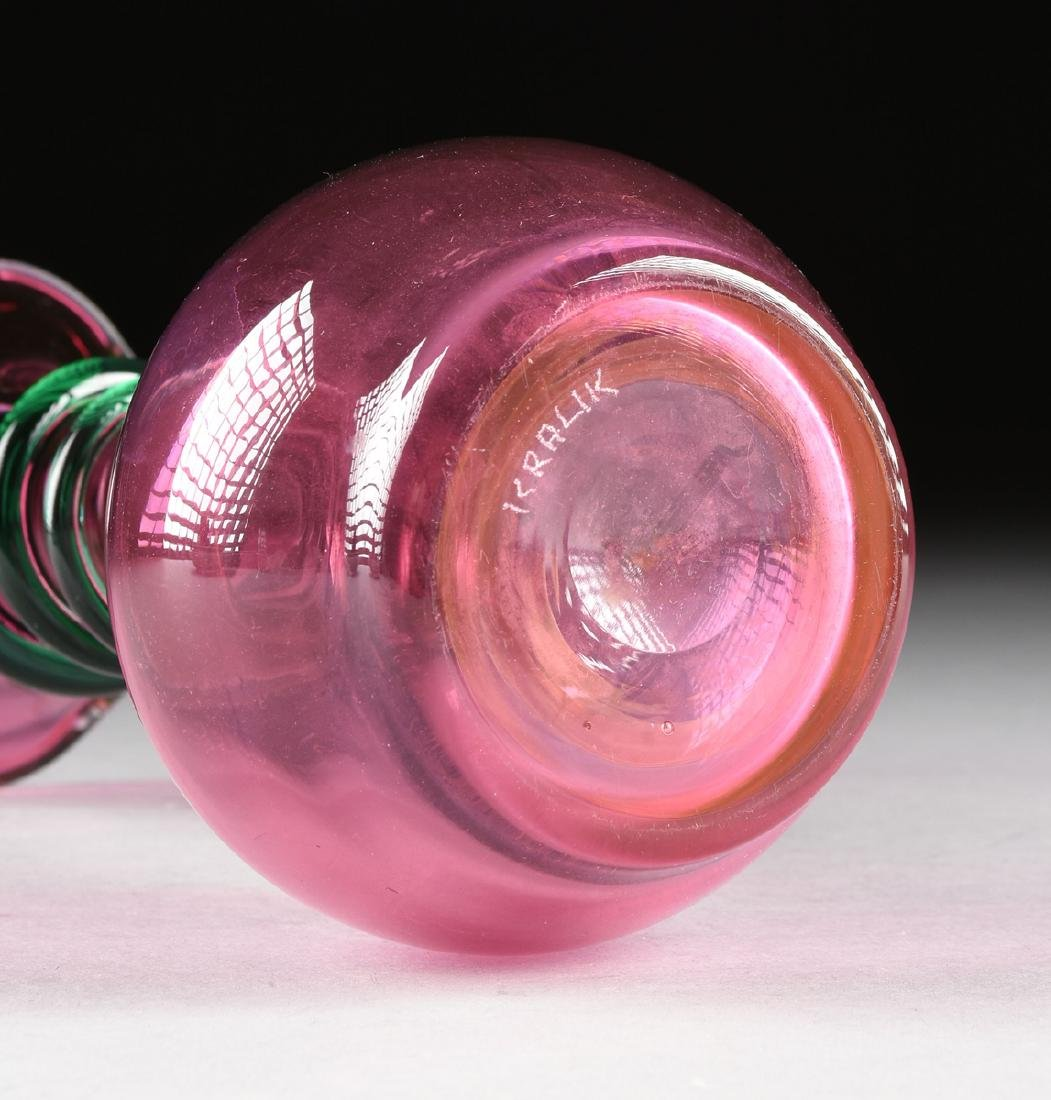 A BOHEMIAN CASED CLEAR TO CRANBERRY GLASS VASE WITH - 5