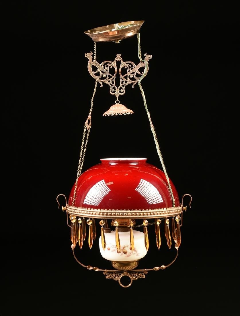 A VICTORIAN HANGING CRANBERRY GLASS GAS PARLOR LAMP,