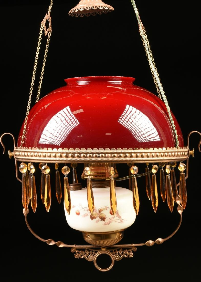 A VICTORIAN HANGING CRANBERRY GLASS GAS PARLOR LAMP, - 2