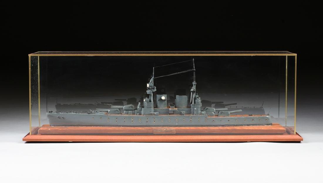 A WWII ERA HAND CARVED MODEL OF BRITISH BATTLESHIP HMS - 2