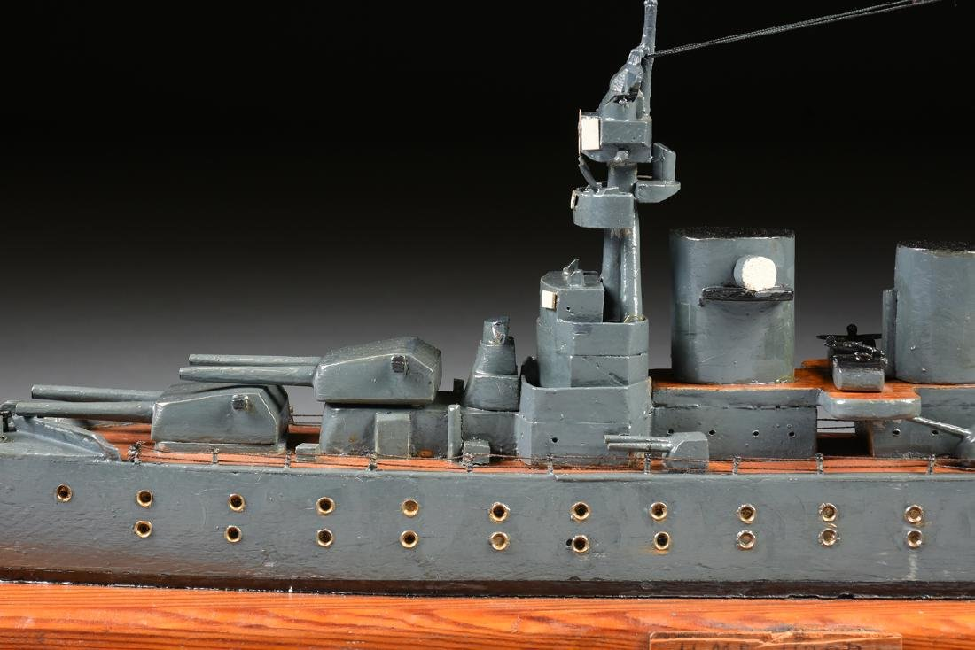 A WWII ERA HAND CARVED MODEL OF BRITISH BATTLESHIP HMS - 4