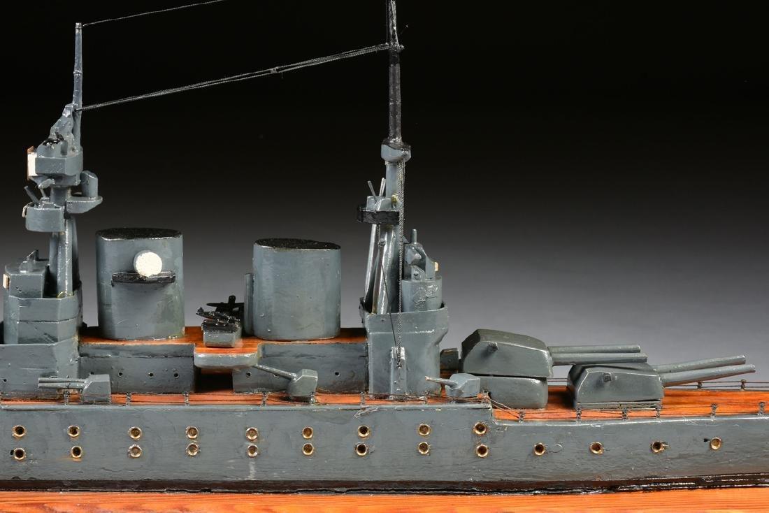 A WWII ERA HAND CARVED MODEL OF BRITISH BATTLESHIP HMS - 5