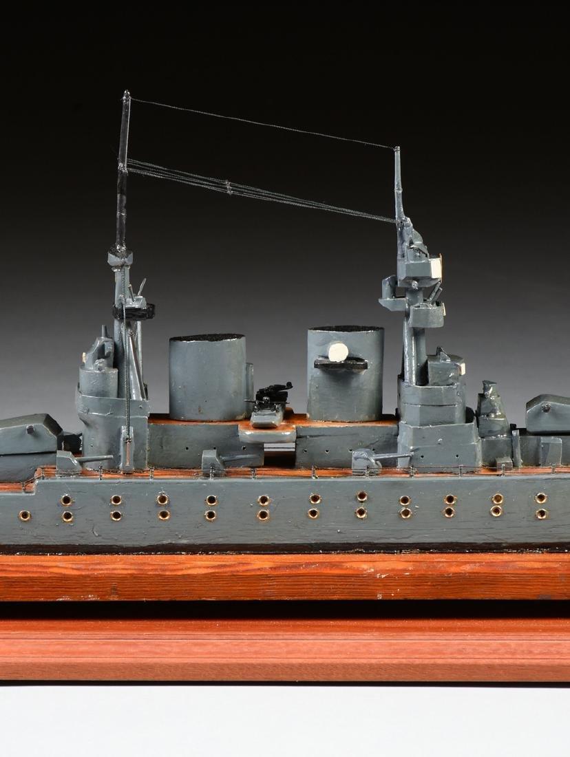 A WWII ERA HAND CARVED MODEL OF BRITISH BATTLESHIP HMS - 7