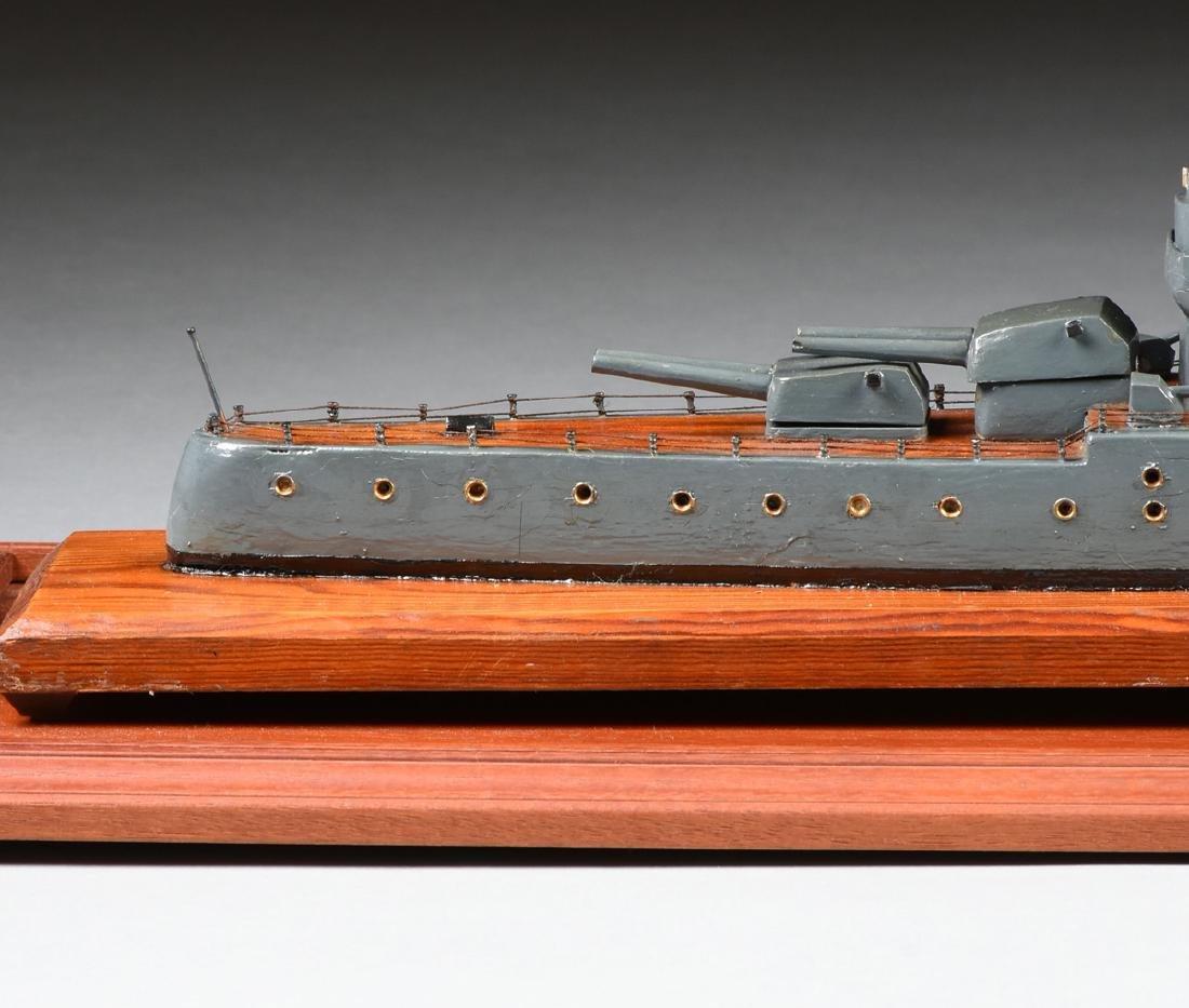 A WWII ERA HAND CARVED MODEL OF BRITISH BATTLESHIP HMS - 8