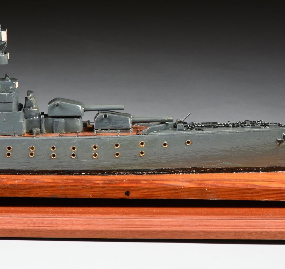 A WWII ERA HAND CARVED MODEL OF BRITISH BATTLESHIP HMS - 9