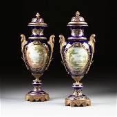 A PAIR OF MONUMENTAL GILT BRONZE MOUNTED GLAZED