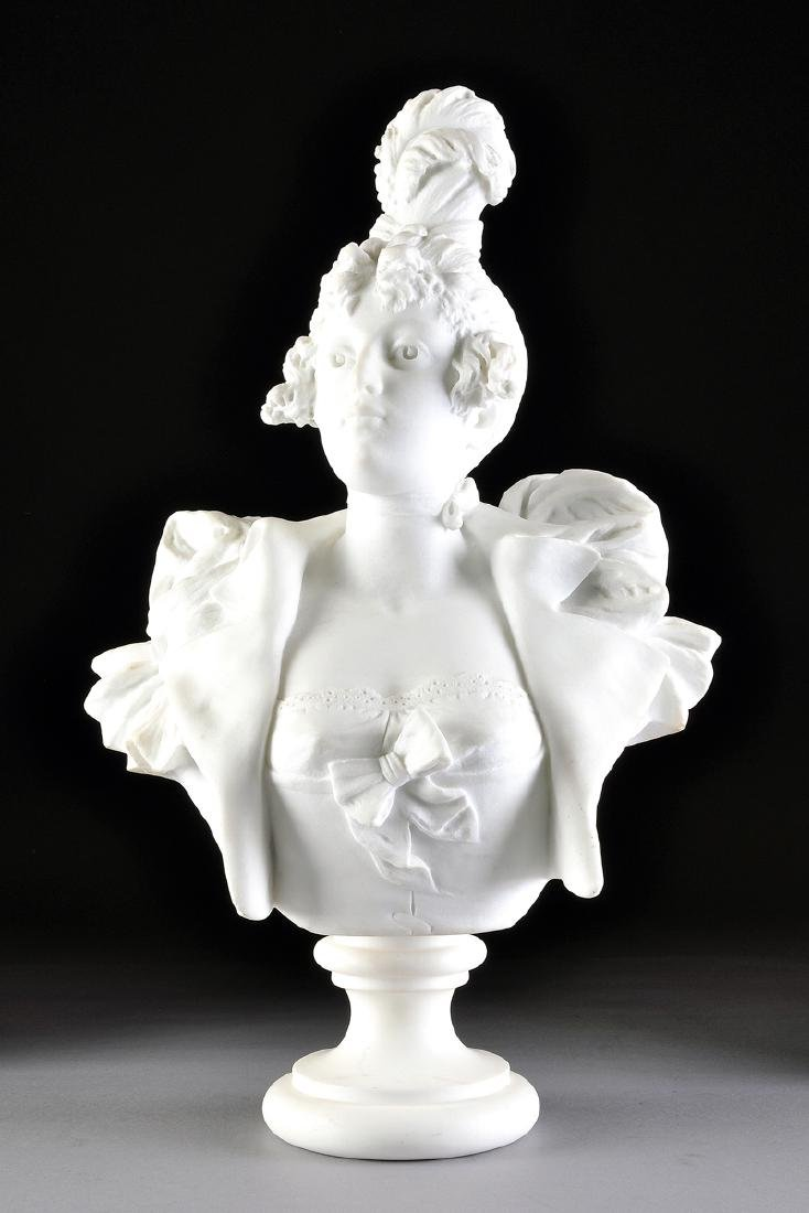 A CARRARA MARBLE BUST OF A MAIDEN, LATE 19TH CENTURY,