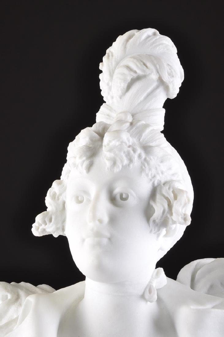 A CARRARA MARBLE BUST OF A MAIDEN, LATE 19TH CENTURY, - 2