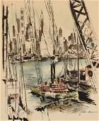 "JOHN HAYMSON (American 1903-1980) A PAINTING, ""Harbor,"""