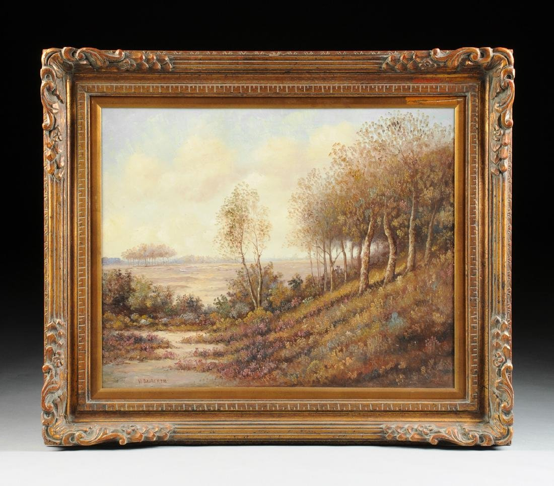 """AMERICAN SCHOOL (20th Century) A PAINTING, """"Landscape,"""" - 2"""