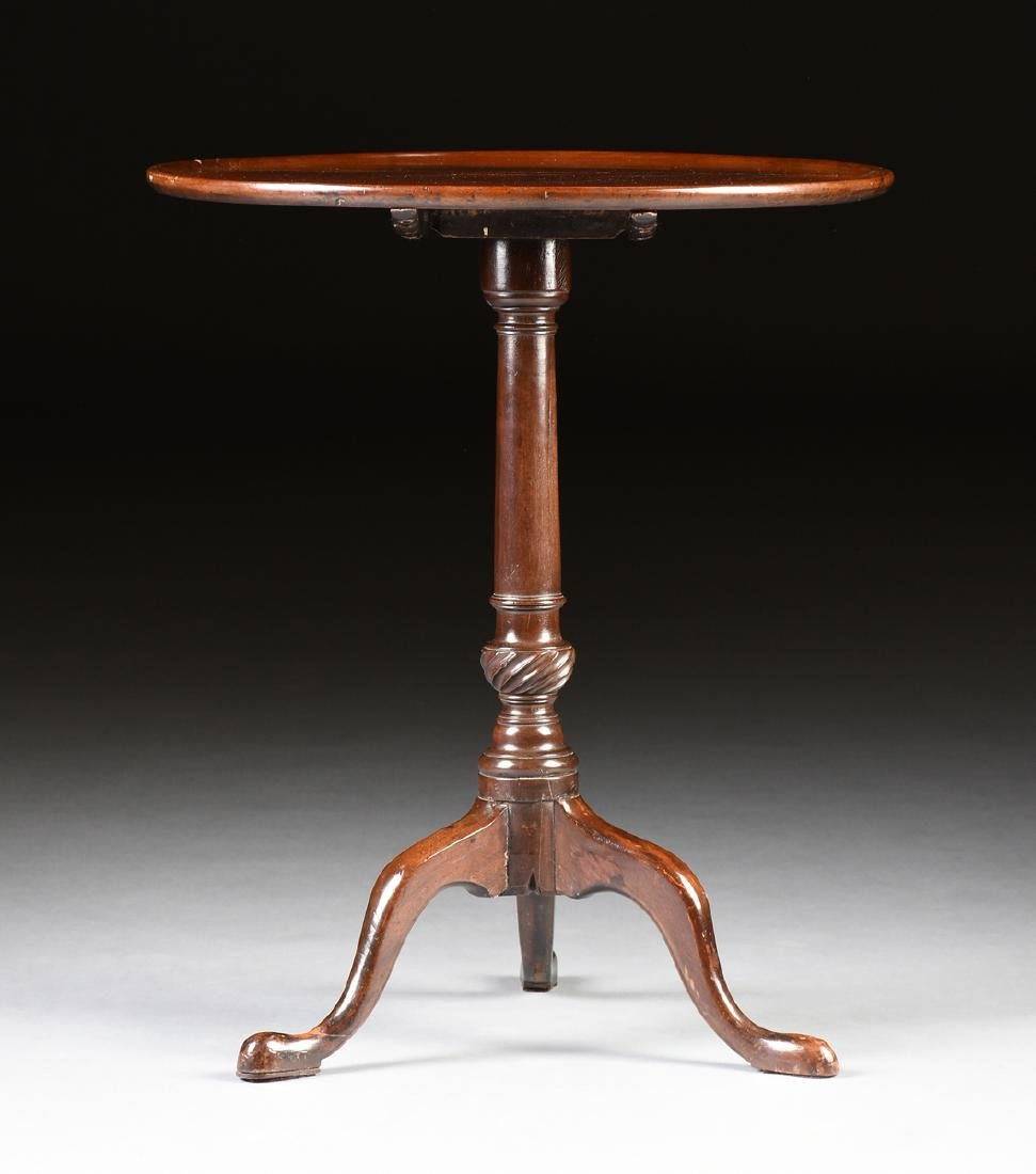 A GEORGE III PERIOD CARVED WALNUT TILT TOP TEA TABLE,