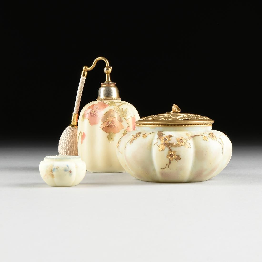 A GROUP OF THREE AMERICAN IVORY COLORED OPAL GLASS