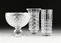 THREE PIECES OF VINTAGE CLEAR MOLDED TABLE CRYSTAL,