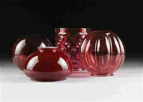 A GROUP OF FOUR LATE VICTORIAN CRANBERRY GLASS PARLOR