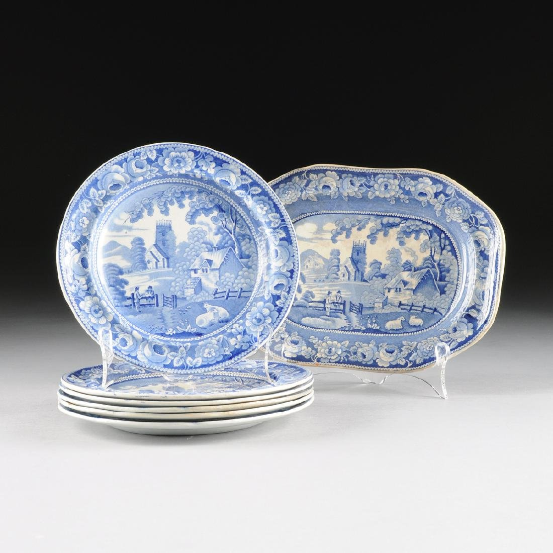 AN ASSEMBLED GROUP OF SIX STAFFORDSHIRE BLUE AND WHITE