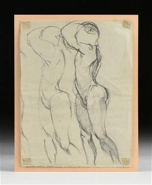 A GESTURAL SKETCH OF TWO NUDES, MID 20TH CENTURY,