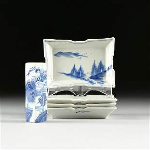 A GROUP OF FIVE JAPANESE BLUE AND WIHITE PORCELAIN