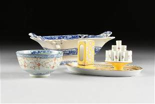 A GROUP OF THREE CERAMIC WARES,