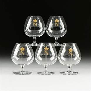 "A SET OF FIVE BACCARAT ""NAPOLEON"" BRANDY CRYSTAL"