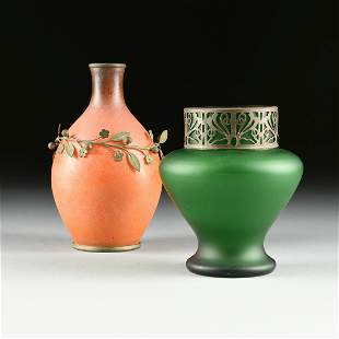 TWO ART GLASS VASES WITH SILVERED METAL MOUNTS,