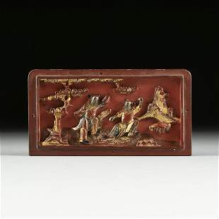 A CHINESE PARCEL GILT RED LACQUER RELIEF PANEL