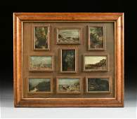 A COLLECTION OF NINE ENGLISH PLEIN AIR LANDSCAPE