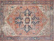 A SEMI ANTIQUE PERSIAN HERIZ CARPET EARLY 20TH
