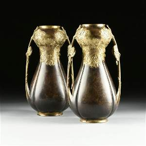 LEON KANN (French 1859-1925) A PAIR OF ART NOUVEAU GILT