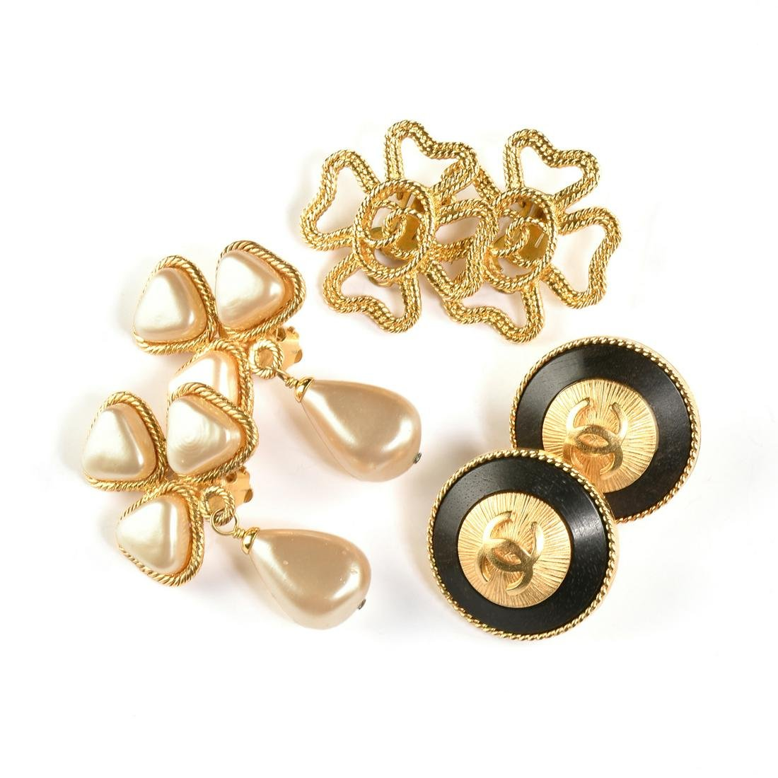 A GROUP OF THREE PAIRS OF CHANEL VINTAGE CLIP ON
