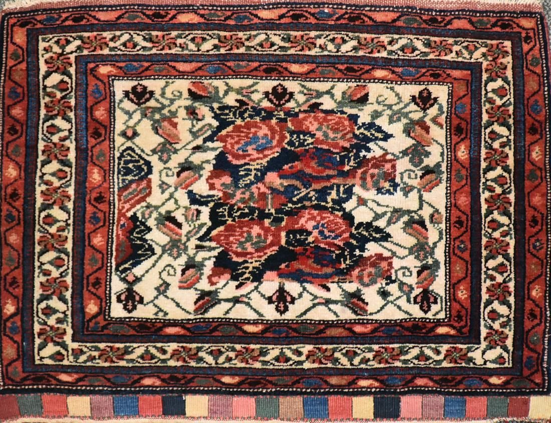 A SEMI ANTIQUE PERSIAN AFSHAR HAND KNOTTED WOOL PARTIAL