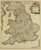 AN ANTIQUE MAP Accuratissima Angli Regni et Walli
