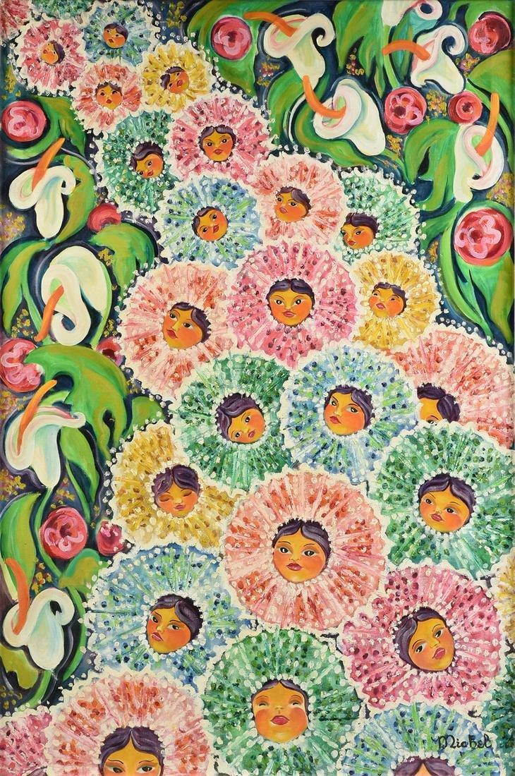 "A GUATEMALAN SCHOOL FOLK ART PAINTING, ""Ancestral"