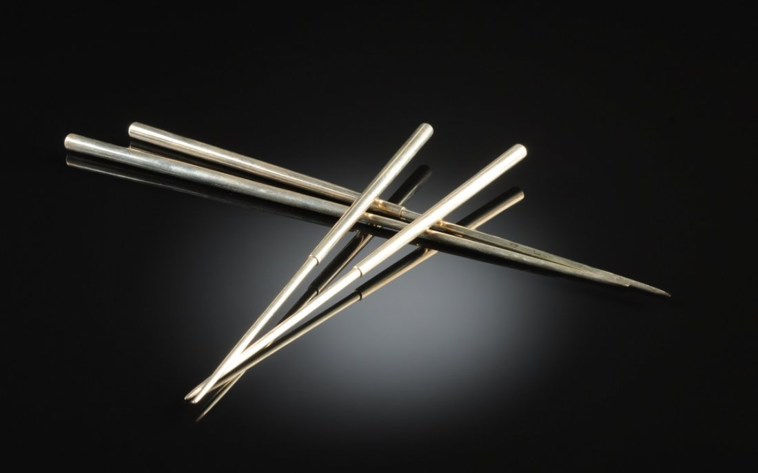 TWO PAIRS OF VINTAGE SILVER CHOPSTICKS, POSSIBLY