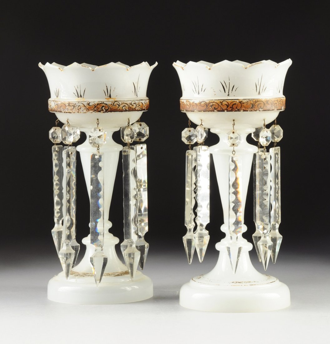 A PAIR OF VICTORIAN PARCEL-GILT OPAQUE GLASS LUSTRES,
